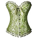 Ezstax - Corsetto vintage da donna, broccato con pizzo, regolabile, push-up A-Verde XL