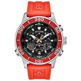 Citizen Men's Top of Water Stainless Steel Quartz Diving Watch with Rubber Strap, Orange, 22 (Model: JR4061-00F)