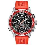 Citizen Eco-Drive Promaster Sailhawk Quartz Mens Watch, Stainless Steel with Silicone strap, Dive Watch, Orange (Model: JR4061-00F)