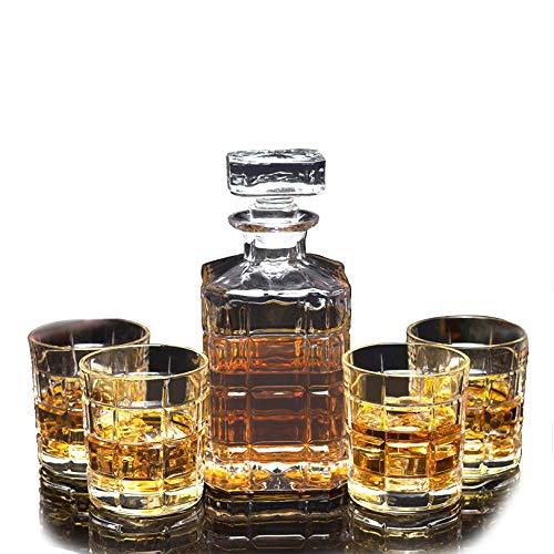 Rabbfay Soplado a Mano Rojo Vino Licorera, Whisky Vasos y Licorera Colocar,...