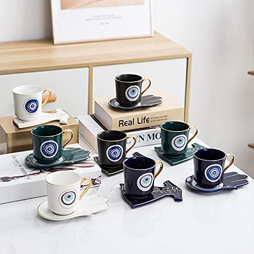 Copa De Champán Taza De Agua Para Niños Taza De Desayuno Juego De Platillo De Taza De Café De Lujo De Ojos Azules Turcos Con Plato Con Forma De Mano Y Ropa Taza Otomana Boonido Coffee Cappuccino Cup