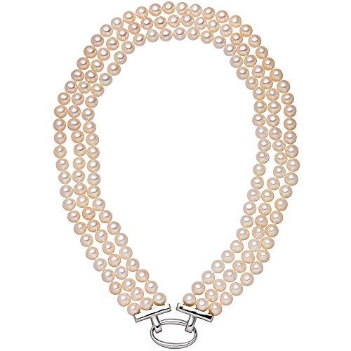 Girahlutions - Perlenkette 3-reihig mit Süßwasser Zuchtperlen 45 cm Schließe 925 Silber