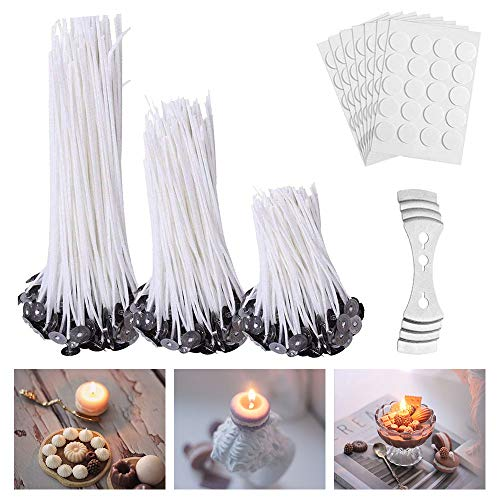 Candle Wicks for Candle Making - Candle Wicks for Candle Making Supplies - Candle Wicks 4 inch 6 inch 8 inch - Wick Stickers for Candle Making and Candle Wick Centering Device(301 Pcs)