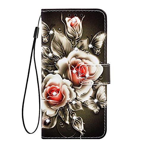 HUDDU Lederhülle Kompatibel mit Samsung Galaxy A71 Hülle Diamant Leder Wallet Ledertasche Handyhülle Glitzer Brieftasche Tasche Mädchen Magnetverschluß Ständer Etui Case Rote Rose