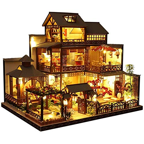 Mdlucz Mini casa de muñecas con muebles, kit de casa de muñecas de madera, mini casa de muñecas de madera, casa de bricolaje con luz y música, la relación es de 1:24