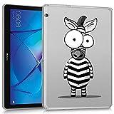 ZhuoFan Funda Huawei Mediapad T3 10, Case Carcasa Silicona Transparente con Dibujos Antigolpes Cover Piel de Protector Compatible con Tableta Huawei Mediapad T3 10 9.6 Pulgadas, Cebra