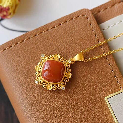 eaz Zierliche Halskette für Frauen, Designer-Halskette mit Anhänger aus Epoxid-Emaille, Porzellan, mit eingelegtem Zirkonia, Nischen-Design, leicht, luxuriös, Damenschmuck, Anhänger-Halskette (50 cm)