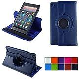 COOVY 2.0 Funda para Amazon Kindle Fire HD 7 (5. Generation, Model 2015) Smart 360º Grados ROTACIÓN Cover Case Protectora Soporte Auto Sueño/Estela   Azul Oscuro