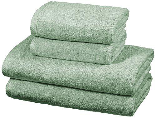 Amazon Basics - Handtuch-Set, schnelltrocknend, 2 Badetücher und 2 Handtücher - Meeresgrün, 100 Prozent Baumwolle