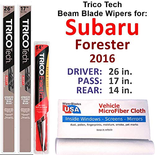 Beam Blades Wipers for 2016 Subaru Forester Set w/Rear Trico Tech Beam Blades Wipers Set Bundled with MicroFiber Interior Car Cloth