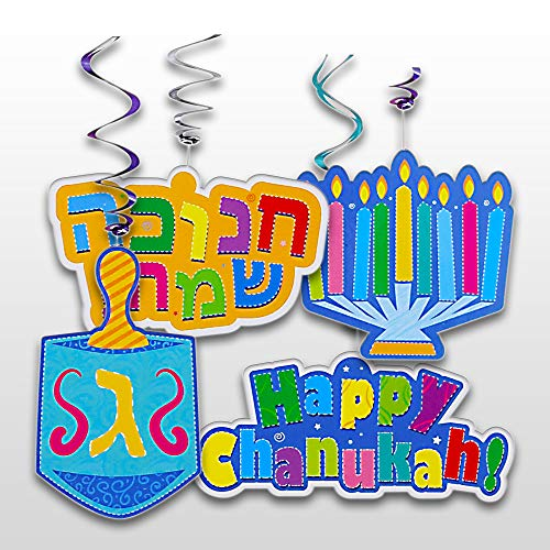 Chanukah Swirl Decorations - 8 Pieces - Giant Hanging Menorah, Dreidel, Happy Chanuka and Chanukah Sameach Signs - Hanukkah Party Decorations and Supplies by Izzy 'n' Dizzy