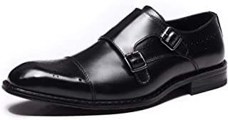 Men's Formal Business Oxford Shoes Slip on Genuine Leather Low Top Brogue Perforated Cap Toe Monk Strap Flat Anti-Slip for Men Shoes (Color : Black, Size : 5.5 UK)