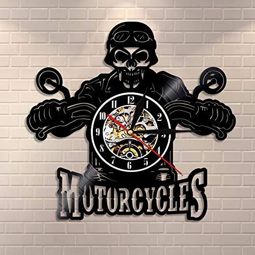 BFMBCHDJ Schädel im Helm Racer Motorräder Wanduhr Racer Skull Biker Schallplatte Wanduhr Halloween Home Decor Skull Rider Clock