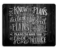 ヴィンテージの聖書の詩の聖書の引用は素朴な黒い木マウスパッドを引用します。私があなたのために持っている計画を知っているからです。