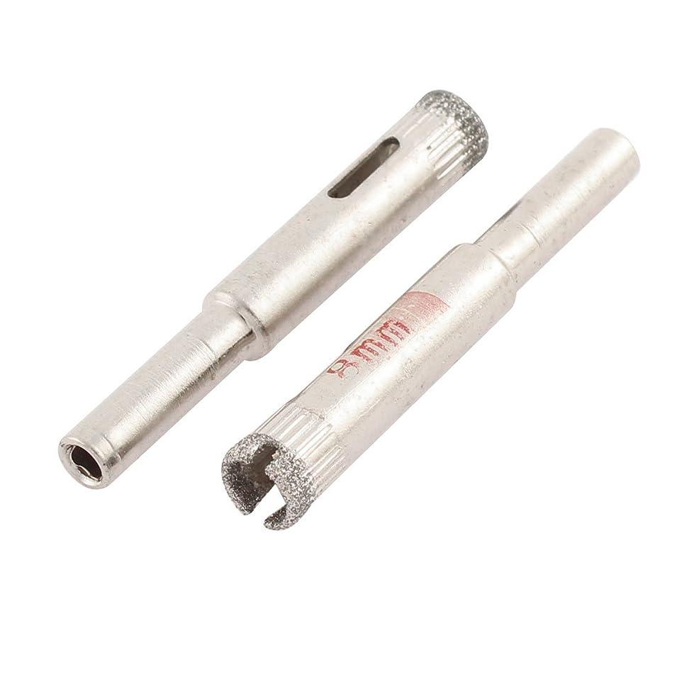 スラッシュ放射能甘味uxcell ガラスホールソー 8mmドリリング直径 ビット シルバートーン 2個
