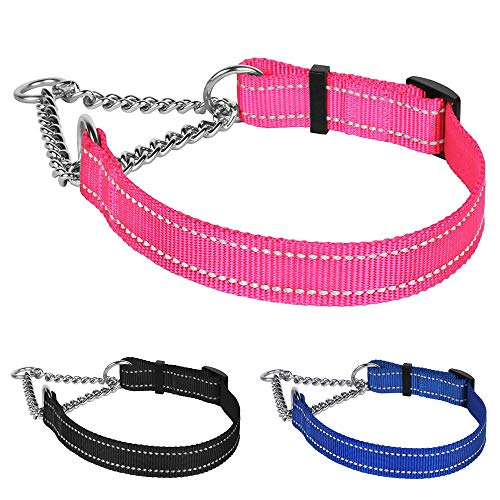 CollarDirect Martingale Dog Collar Training Adjustable Stainless Steel Chain Reflective Nylon Pet Choke Collars for Medium Large Dogs (S, Neck Fit 12