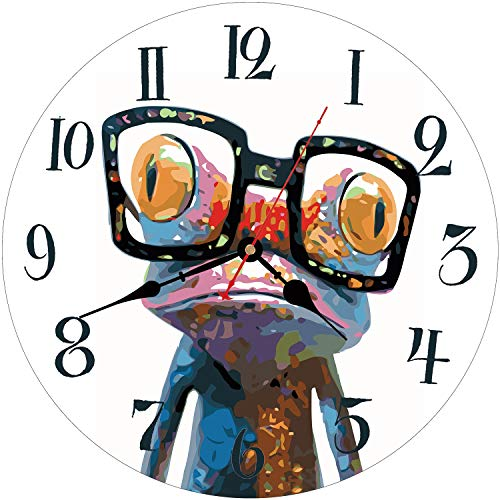 WISKALON 14 Inch Animals Wall Clock,Frog with Glasses Style Home Art Decor Wall Clock,Silent Non-Ticking Wall Clock,Battery Operated Indoor Wall Clock,Round Wood Decorative Wall Clock