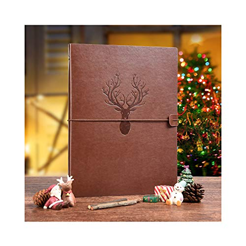 A4 Notebook, VEESUN Leather Journal Vintage Refillable Sketchbook Travel Diary with Elastic Closure, Christmas Birthday Gifts for Kids Wedding Valentines Anniversary Presents for Man Women, Deer Brown