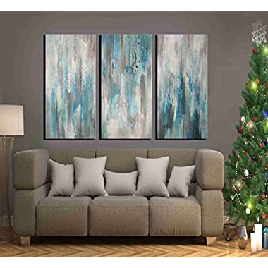 ARTLAND Hand-painted 'Sea of Clarity' Oil Painting Gallery-wrapped Canvas Art Set 3-piece (16x32inches x3)