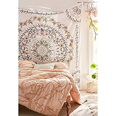 Simpkeely Sketched Floral Medallion Tapestry, Bohemian Mandala Wall Hanging Tapestries, Indian Art Print Mural for Bedroom Living Room Dorm Home Décor 59.1x80 Inches?Mauve?