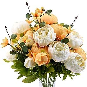 FiveSeasonStuff Vintage Artificial Peonies Silk Flowers and Hydrangeas for Wedding Bridal Home Décor – Beautiful Floral Centerpiece Arrangement Decoration with 2 Bouquets (Summer Breeze)