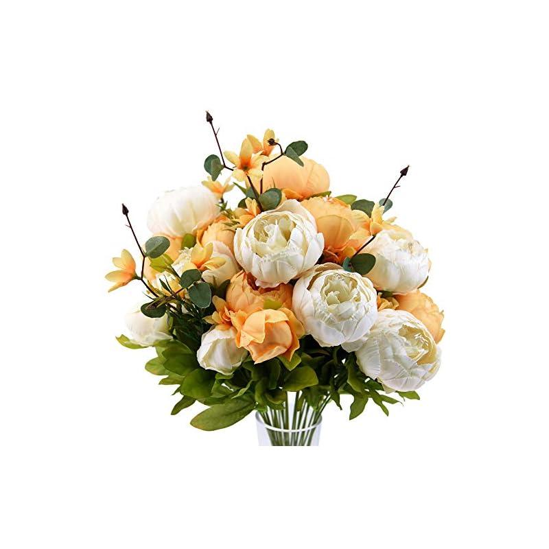 silk flower arrangements fiveseasonstuff vintage artificial peonies silk flowers and hydrangeas for wedding bridal home décor – beautiful floral centerpiece arrangement decoration with 2 bouquets (summer breeze)