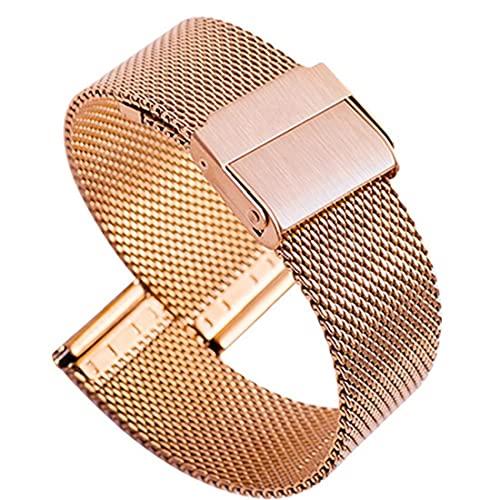 FeelMeet Correas de Reloj de Acero Inoxidable Reloj Milanese Banda Ultra-Delgada de liberación rápida Pulsera Inteligente Hombres Mujeres 22 mm de Oro Rosa