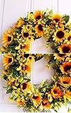 U'Artlines 40cm Natürliche Girlanden Haustür Kränze, Künstliche Sonnenblume Hängen Kranz für Home Party Indoor Outdoor Fenster Wand Hochzeit Dekoration(40 cm Sonnenblume) - 3