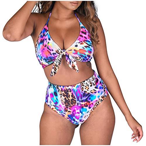 Damen Bikini Set Push Up Bikini Oberteil Leopardenmuster Zweiteiliger Bikini-Badeanzug Sommer Leibchen Crop Tops + Tanga Bikinihose Klassisch Zweiteilige Badeanzug