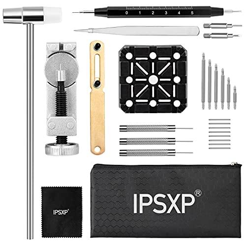 IPSXP Kit de Reparación de Relojes, Accesorios para Quitar Relojes, Herramientas Relojero para Ajustar y Reemplazar la Correa de Relojcon Manual Usuario,bolsa de almacenamiento