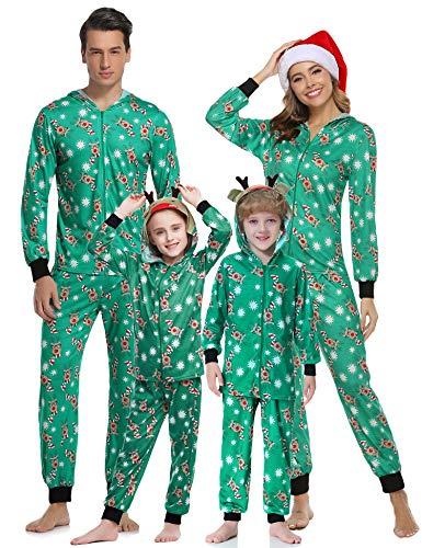 Aibrou Weihnachten Schlafanzug Familie Damen Nachtwäsche Mit Kapuze Herren Weihnachts Pyjama Set Kinder Jungen Mädchen Weihnachtspyjama Jumpsuit