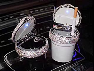 TISHAA Portable Fabulous Dazzling Bling Diamond Cigarette Automotive Ashtray Trash Bin Cylinder Cup Holder w LED Light (Black Bin)