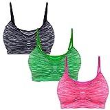 Libella Lot de 3 Soutien-Gorge de Sport Femme - Brassière - Bustier pour Fitness Yoga - Bra sans Armature sans Couture - 3718 Gris+Pink+Vert L/XL