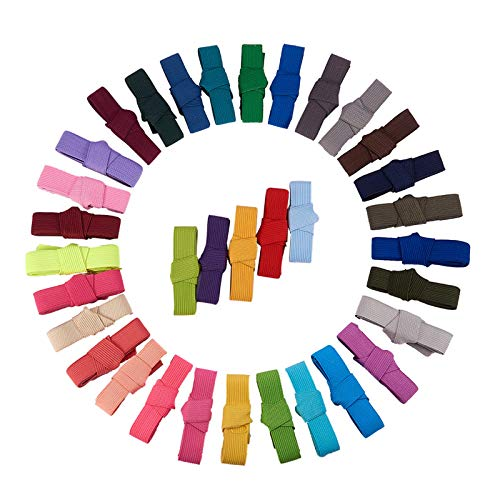 BENECREAT 34M (37 Yardas) Cinta Elastica Plegada Elastics Estiramiento Plegable FOE Elastics para Cintas para el Pelo Diademas - 34 Colores por 1M