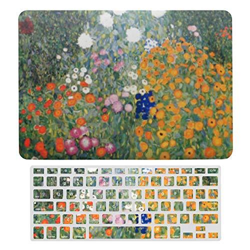 Macbook Air 13 Inch Case(A1369 & A1466, Older Version 2010 2017 Release), Plastic Hard Protective Laptop Case Shell With Keyboard Cover, Gustav Klimt Flower Garden Vintage Art Nouveau