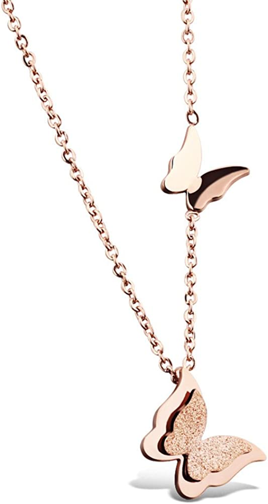 KESTYLE Womens Girls Stainless Steel Butterfly Pendant Charms Clavicle Chain Necklace