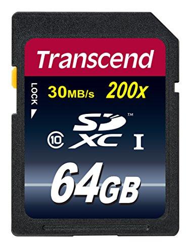 Transcend TS64GSDHC10E - Tarjeta de memoria  de 64 GB (clase 10, 30 MB/s)