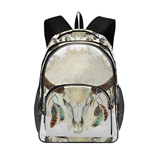 Irud Shcool Rucksack Tier Büffel Totenkopf Mandala Boho, langlebige Tasche Arbeitstasche Leichte Laptop-Tasche Wasserabweisend Schulrucksack Geschenke für Männer und Frauen