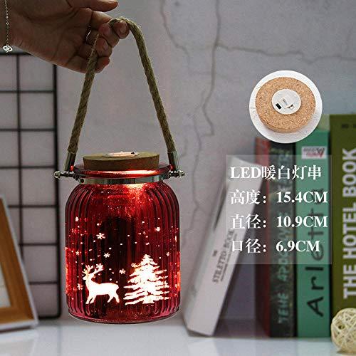 Decoratieve lichtgevende lichte fles, gekleurde verticale streep gegalvaniseerde gegraveerde fles, decoratieve vaas met touwtje handvat-D