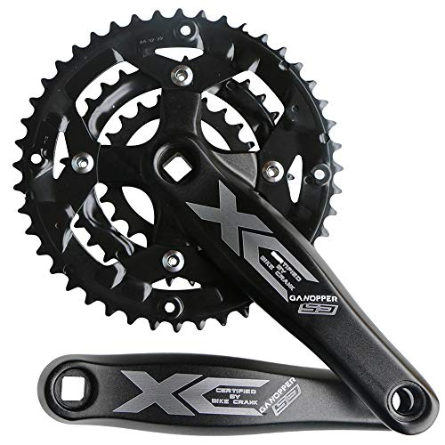 GANOPPER 9S 9speed 22T 32T 44T 104 BCD 170mm Crank Arm Length MTB Mountain Bike Chainset Triple Teeth CrankSet (Black)