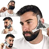 Beard Shaping Tool Kit for Men [Comb & Pencil Liner Included], Shaper Template Guide Tools for Trimming Hairline, Perfect Barber Trimmer Line Goatee Lineup for Styling, Black Mustache Gift