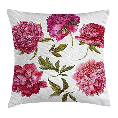 MeiMei2 - Funda de cojín con diseño de flores y brotes de primavera en tonos vivos, acuarela, ramo de peonías, decorativa, cuadrada, 45,7 x 45,7 cm, color fucsia magenta, rosa, verde oliva