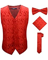 Paisley Red Vest for Men and Youth with Dress Necktie Handkerchief Bowtie,Red,S