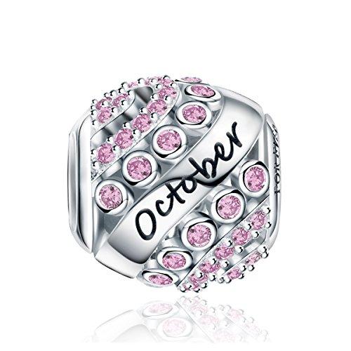 Charms Naissance pour Bracelet - Breloques Ajourés de Perles en Argent Sterling 925, Charms Joyeux Anniversaire pour Bracelet et Collier Fête des mères FQ0004