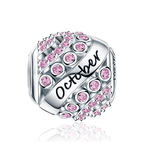 FOREVER QUEEN October Birthstone Charms for Pandora Charms Bracelet- 925 Sterling Silver Bead Openwork Charms, Happy Birthday Charms for Bracelet and Necklace FQ0004-10