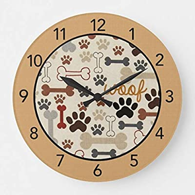 Dog Bones and Paw Prints Tan Wood Wall Clocks Silent Non Ticking for Bedrooms Living Room