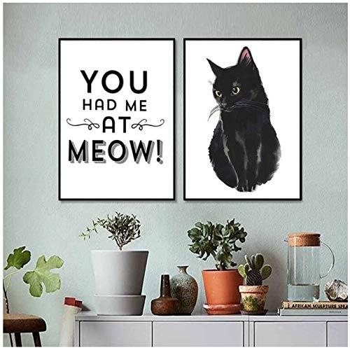 zhaoyangeng modulaire print zwarte huisdier kat brief foto's wooncultuur schilderij woonkamer eenvoudige stijl canvas poster muurkunst - 50X70Cmx2 niet ingelijst