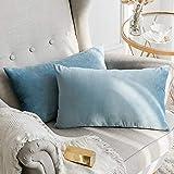 MIULEE Terciopelo Funda de Cojine Funda de Almohada del Sofá Throw Cojín Decoración Almohada Caso de la Cubierta Decorativo para Sala de Estar 30x 50cm 12 x 20 Pulgadas 2 Pieza Agua Azul