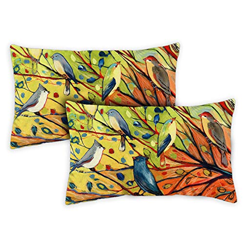 Toland Home Garden 731217 Tree Birds 12 x 19 Inch Indoor/Outdoor Pillow with Insert 2Pack
