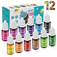 JIM'S STORE Colorante Alimentario 12*11ml, Set de Colorante Alta Concentración Liquid para Colorear los Bebidas Pasteles Galletas Macaron Fondant